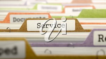 File Folder Labeled as Service in Multicolor Archive. Closeup View. Blurred Image.