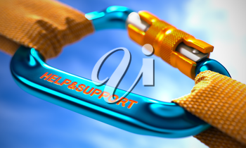 Blue Carabiner between Orange Ropes on Sky Background, Symbolizing the Help and Support. Selective Focus. 3d Illustration.