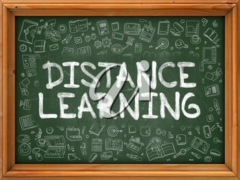 Hand Drawn Distance Learning on Green Chalkboard. Hand drawn Doodle Icons Around Chalkboard. Modern Illustration with Line Style.