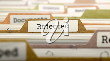 Rejected Concept on File Label in Multicolor Card Index. Closeup View. Selective Focus.