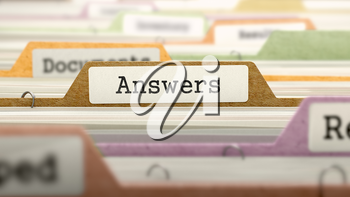 Answers on Business Folder in Multicolor Card Index. Closeup View. Blurred Image. 3d Render.