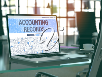 Accounting Records Concept - Closeup on Landing Page of Laptop Screen in Modern Office Workplace. Toned Image with Selective Focus. 3d Render.