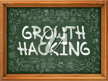 Green Chalkboard with Hand Drawn Growth Hacking with Doodle Icons Around. Line Style Illustration.