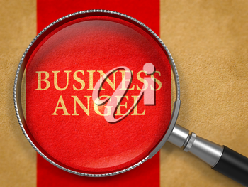 Business Angel through Loupe on Old Paper with Red Vertical Line Background. 3d Render.