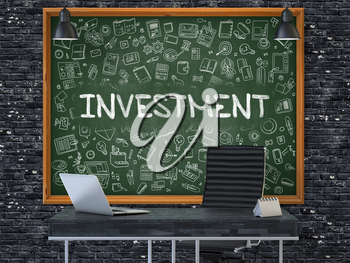Hand Drawn Investment on Green Chalkboard. Modern Office Interior. Dark Brick Wall Background. Business Concept with Doodle Style Elements. 3D.