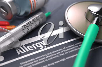 Diagnosis - Allergy. Medical Concept with Blurred Text, Stethoscope, Pills and Syringe on Grey Background. Selective Focus. 3d Render.