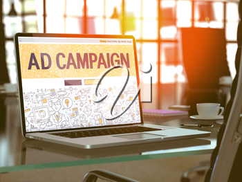 Ad Campaign Concept. Closeup Landing Page on Laptop Screen in Doodle Design Style. On Background of Comfortable Working Place in Modern Office. Blurred, Toned Image. 3d Render.