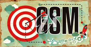 GSM - Global System for Mobile Communications - Drawn on Old Poster. Communication Concept in Flat Design.