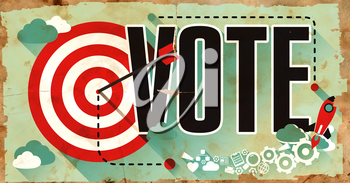 Vote Concept. Poster on Old Paper in Flat Design with Long Shadows.