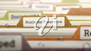 Folder in Colored Catalog Marked as Business Insurance Closeup View. Selective Focus. 3d Render.