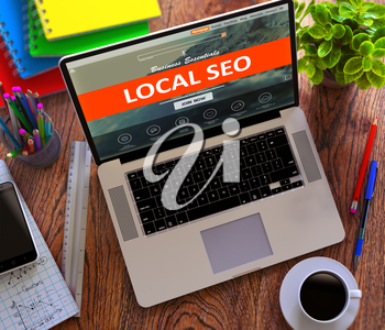Local SEO - Search Engine Optimization - on Landing Page of Modern Laptop Screen. Online Marketing, iMarketing Concept. 3d Render.