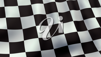 A 3D rendered still of a checkered racing flag, waving and rippling in the wind. Also available as loopable animated version in my portfolio.