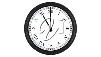 Realistic 3D render of a wall clock with Roman numerals set at 11 o'clock, isolated on a white background.