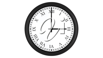 Realistic 3D render of a wall clock with Roman numerals set at 3 o'clock, isolated on a white background.