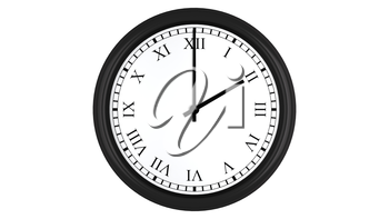 Realistic 3D render of a wall clock with Roman numerals set at 2 o'clock, isolated on a white background.