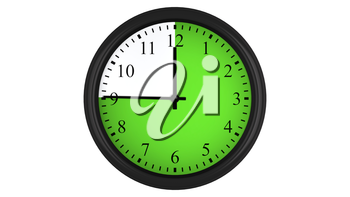 Wall clock showing a 45 minutes green time interval, isolated on a white background. Realistic 3D computer generated image.