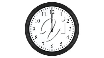 Realistic 3D render of a wall clock set at 12 o'clock, isolated on a white background.