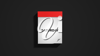 Red weekly calendar on a dark gray wall, showing Saturday. Digital illustration.