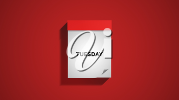Red weekly calendar on a red wall, showing Tuesday. Digital illustration.