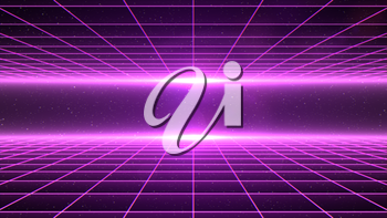 Horizontal matrix grid tunnel in space with stars in the background. Magenta version.