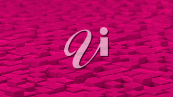 Grid of pink cubes in a randomized pattern. Wide shot. 3D computer generated background image.