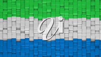 Sierra Leonean flag made of cubes in a random pattern. 3D computer generated image.