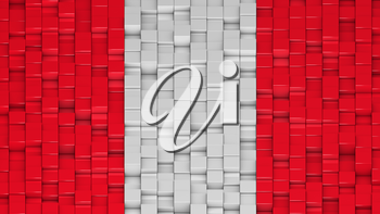 Peruvian civil flag (without coat of arms) made of cubes in a random pattern. 3D computer generated image.
