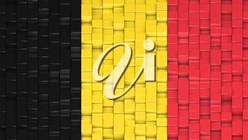 Belgian flag made of cubes in a random pattern. 3D computer generated image.