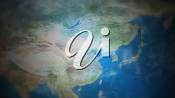East Asia on a world map with vignette and radial blur effect. Elements of this image are furnished by NASA.
