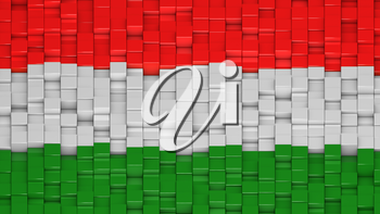 Hungarian flag made of cubes in a random pattern. 3D computer generated image.