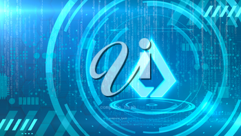 Lisk symbol on a cyan background with HUD elements related to computer technology.