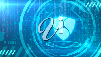 NEM symbol on a cyan background with HUD elements related to computer technology.