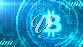 Bitcoin symbol on a cyan background with HUD elements related to computer technology.