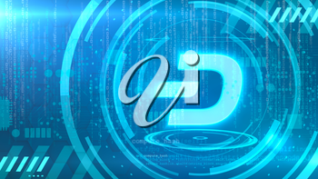 Dash symbol on a cyan background with HUD elements related to computer technology.