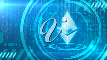 Ethereum symbol on a cyan background with HUD elements related to computer technology.
