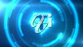 Blue Tether symbol centered on a starscape background with HUD elements.