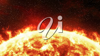 Close-up of the Sun burning brightly on a stellar background. Computer generated illustration.