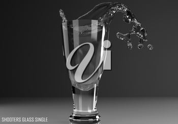 shooters glass single 3D illustration on dark background