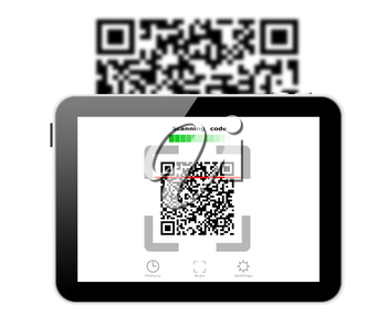 Concept of scanning code on a tablet computer display