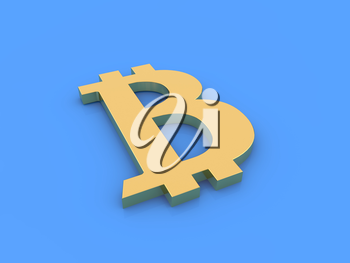 Bitcoin symbol on a blue background. 3d render illustration.