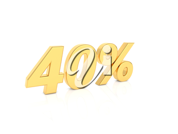 40% gold number on a white background. 3d render illustration.
