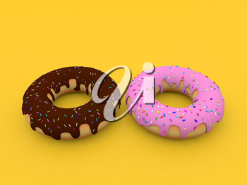 Delicious donuts on a yellow background. 3d render illustration.