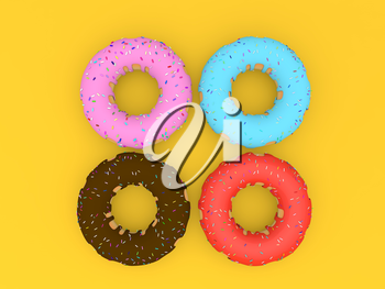 Delicious colorful donuts on a yellow background. 3d render illustration.