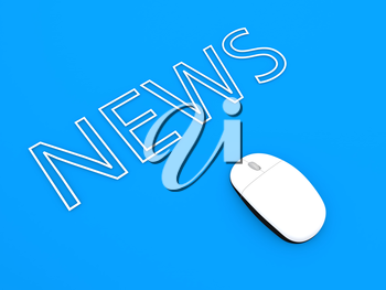 Computer mouse and the inscription news on a blue background. 3d render illustration.