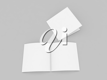 Greeting card layout on a gray background. 3d render illustration.