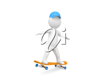 3d character is riding a skateboard on a white background. 3d render illustration.