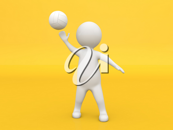 3d character athlete plays with a ball on a yellow background. 3d render illustration.