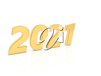 2021 numbers on a white background. 3d render illustration.