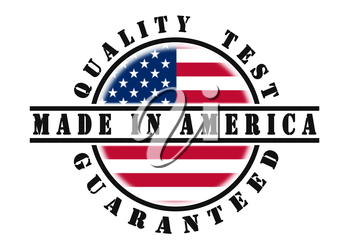 Quality test guaranteed stamp with a national flag inside, USA