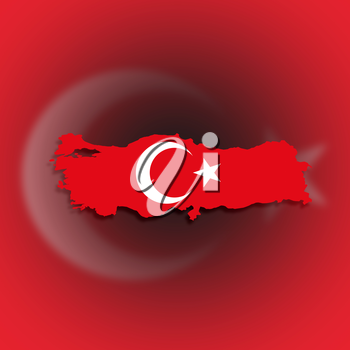 Turkey map with the flag inside, isolated